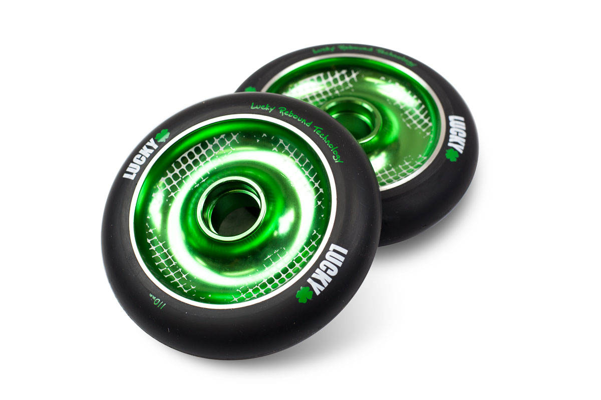 lucky scooters icon ii scooter wheel black green