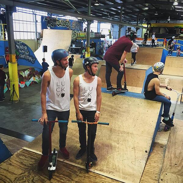 Capron and Corey Funk at Bunker Skatepark